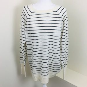 Halogen Cashmere Cream Striped Zip Back Sweater
